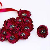 Украшения handmade. Livemaster - original item Floral necklace made of fabric and leather Marsala ice. Handmade.