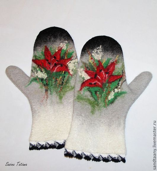"""Варежки, митенки, перчатки ручной работы. Ярмарка Мастеров - ручная работа. Купить Варежки """"Лилия"""". Handmade. Варежки, холод, лилия"""