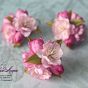 Украшения handmade. Livemaster - original item Ring and earrings with Sakura