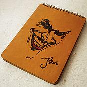 """Канцелярские товары ручной работы. Ярмарка Мастеров - ручная работа Блокнот из кожи ручной работы """"Джокер"""". Handmade."""