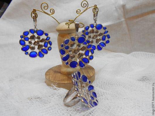 """Кольца ручной работы. Ярмарка Мастеров - ручная работа. Купить Кмплект """"Капли"""". Handmade. Синий, подарок"""