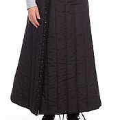 Одежда ручной работы. Ярмарка Мастеров - ручная работа Юбка стёганая чёрная на запахе длинная с тесьмой. Handmade.