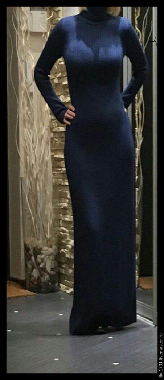 Платья ручной работы. Ярмарка Мастеров - ручная работа. Купить ПЛАТЬЕ. Handmade. Тёмно-синий, платье в пол, вязание на заказ