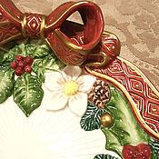 Винтаж ручной работы. Ярмарка Мастеров - ручная работа Пара винтажных рождественских сервировочных тарелки.. Handmade.