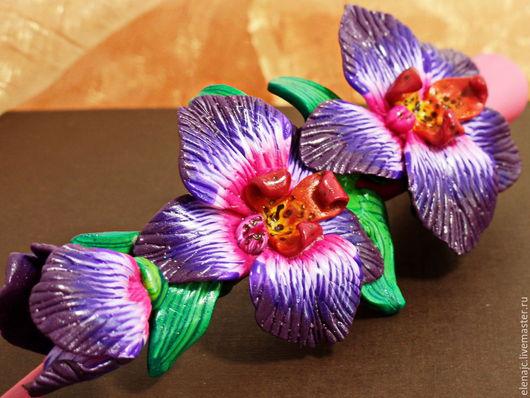 Заколки ручной работы. Ярмарка Мастеров - ручная работа. Купить Заколка-зажим с орхидеями из полимерной глины - Южная ночь. Handmade.