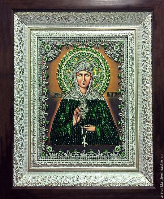 Персональные подарки ручной работы. Ярмарка Мастеров - ручная работа. Купить Икона Святой Матроны. Handmade. Тёмно-зелёный