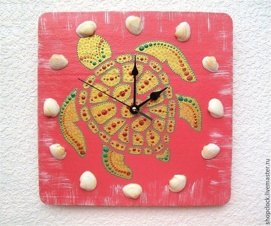 Wall clock Turtle, handmade clock with shells, Watch, Novosibirsk,  Фото №1