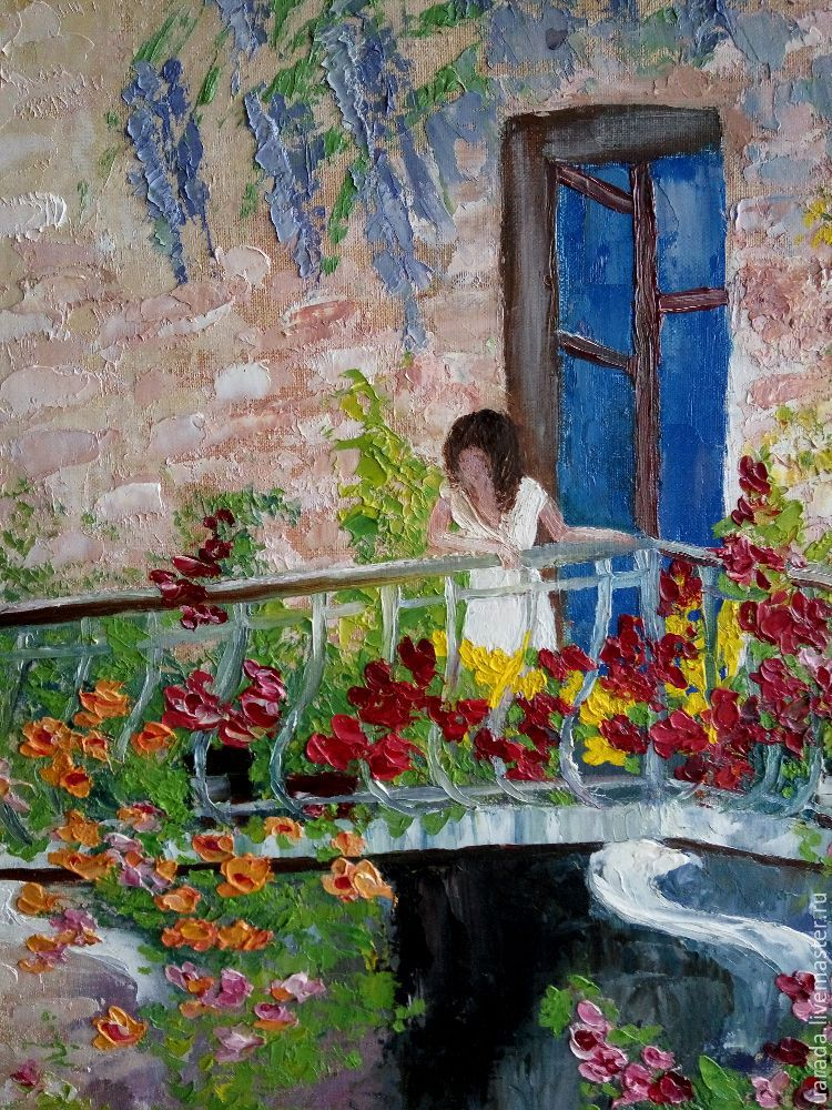 """Купить """"девушка на балконе"""" - картина маслом в интернет мага."""