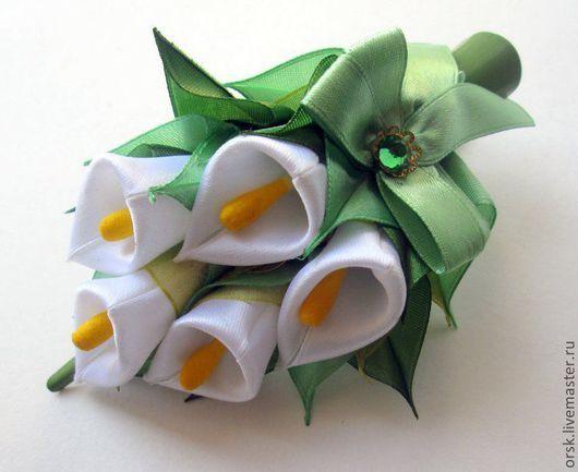 """Заколки ручной работы. Ярмарка Мастеров - ручная работа. Купить заколка """"каллы"""". Handmade. Белый, брошь, заколка с цветами"""