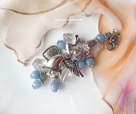 Фото Брелок для ключей, Украшение на сумку Ангел Мой...Горный хрусталь, голубой агат, металл под серебро