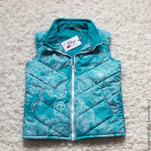 Одежда для девочек, ручной работы. Ярмарка Мастеров - ручная работа. Купить Утепленный стеганый жилет без капюшона. Handmade. Бирюзовый