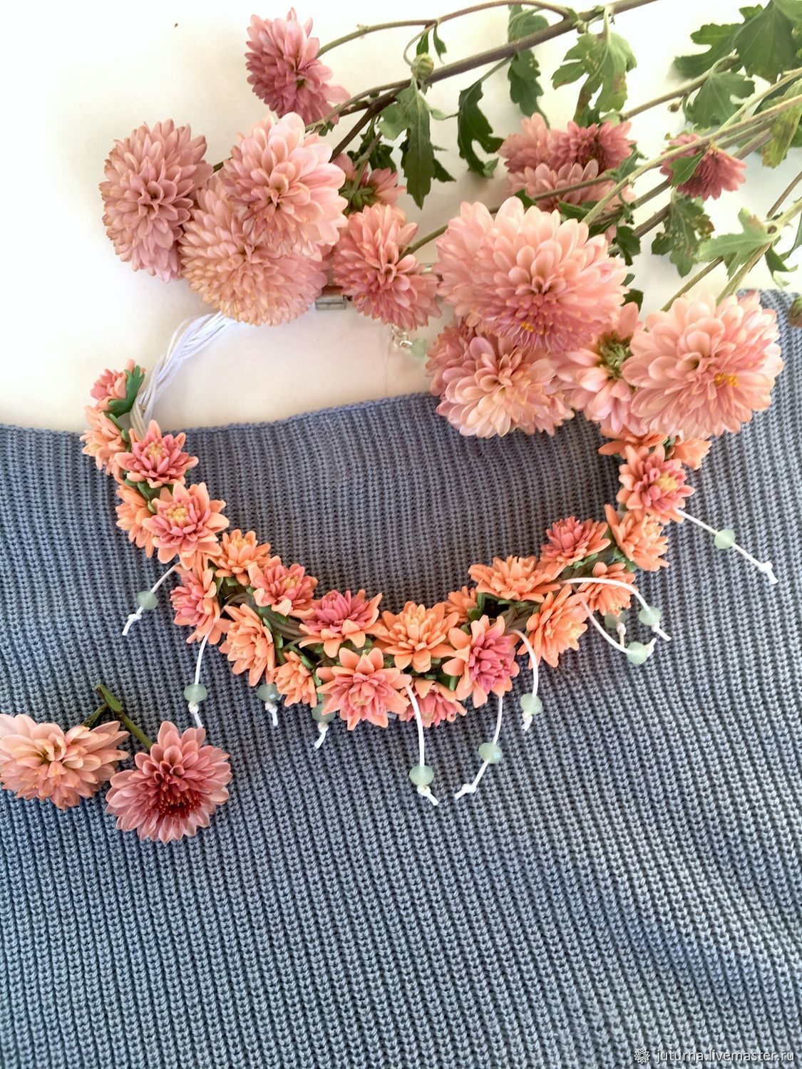 Necklace of flowers 'Honey chrysanthemum', Necklace, Vladivostok,  Фото №1