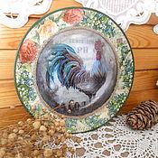 Подарки к праздникам ручной работы. Ярмарка Мастеров - ручная работа декоративная тарелка петушок в стиле кантри  2. Handmade.