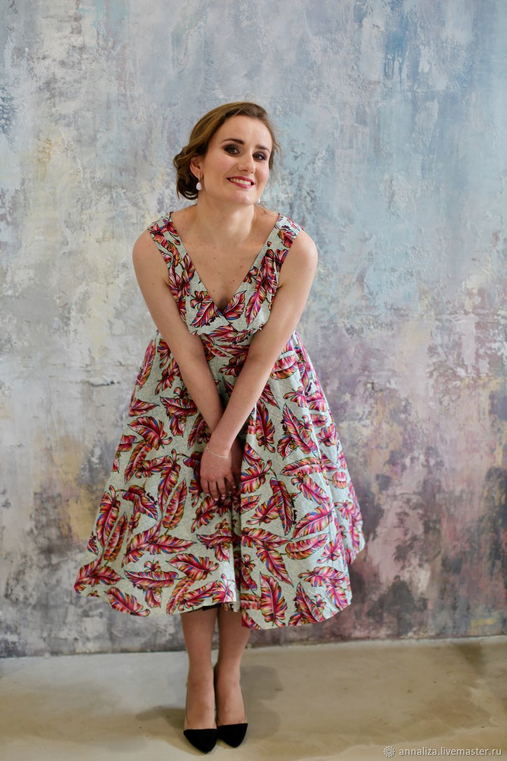 Retro dress in the style of the 50s 'Urban tropics', Dresses, Moscow,  Фото №1