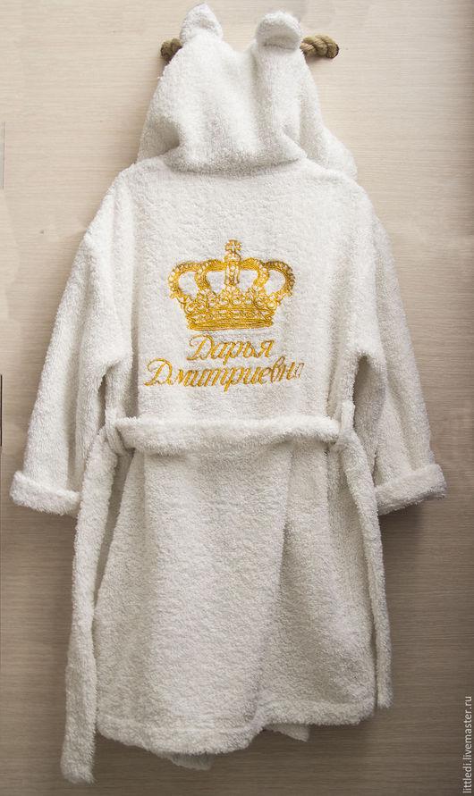 Халаты ручной работы. Ярмарка Мастеров - ручная работа. Купить Детский именной махровый халат. Handmade. Белый, именная вышивка