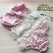 Одежда handmade. Livemaster - original item Linen sets: French lace bodysuits and slips. Handmade.