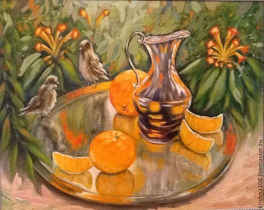 Натюрморт ручной работы. Ярмарка Мастеров - ручная работа. Купить Оранжевое настроение. Handmade. Оранжевый, натюрморт с фруктами, подарок для любимых