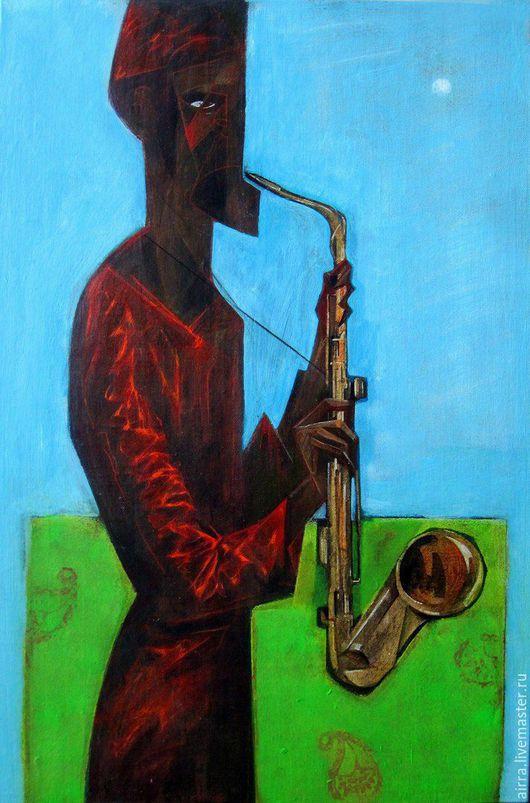Символизм ручной работы. Ярмарка Мастеров - ручная работа. Купить Sax. Handmade. Зеленый, картина маслом, картина, саксофон