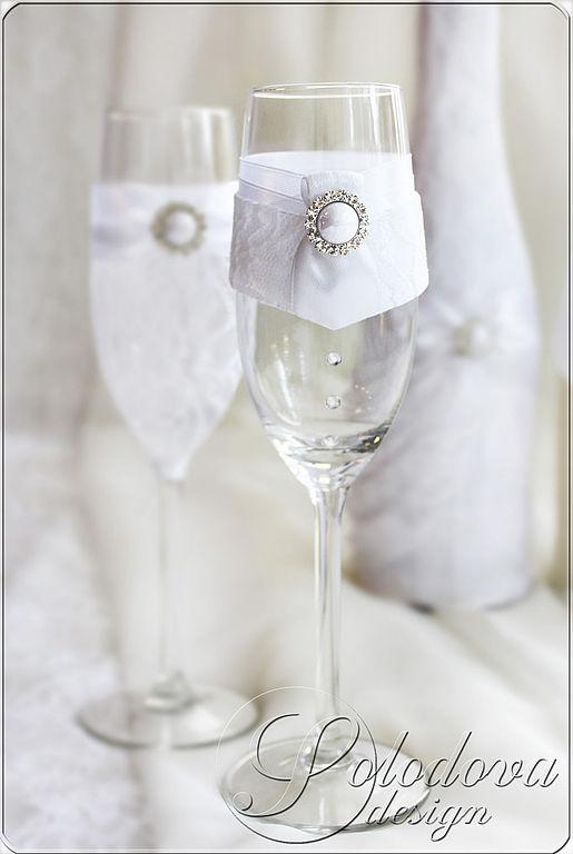 """Свадебные бокалы """"Комильфо"""" Бокалы свадебные,бокалы для молодоженов,свадебные аксессуары ручной работы."""