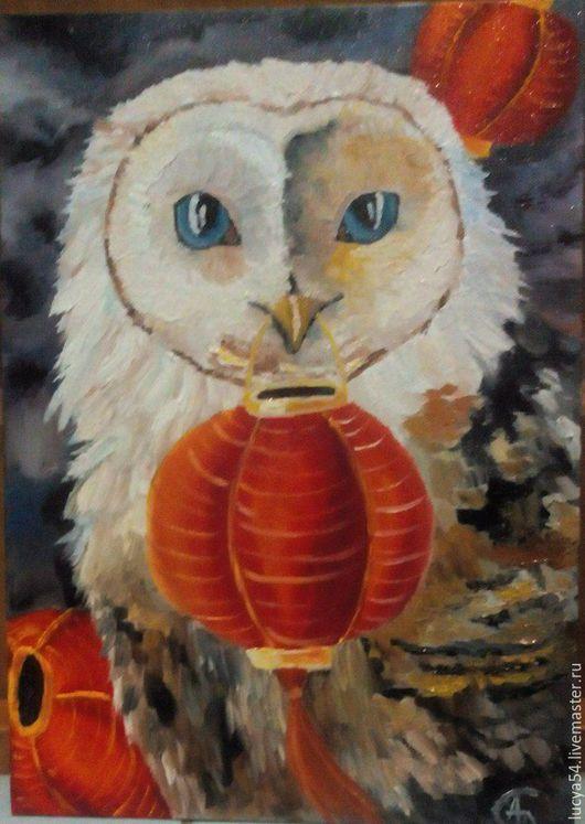 Животные ручной работы. Ярмарка Мастеров - ручная работа. Купить сова. Handmade. Комбинированный, совушка, фонарик, холст на картоне