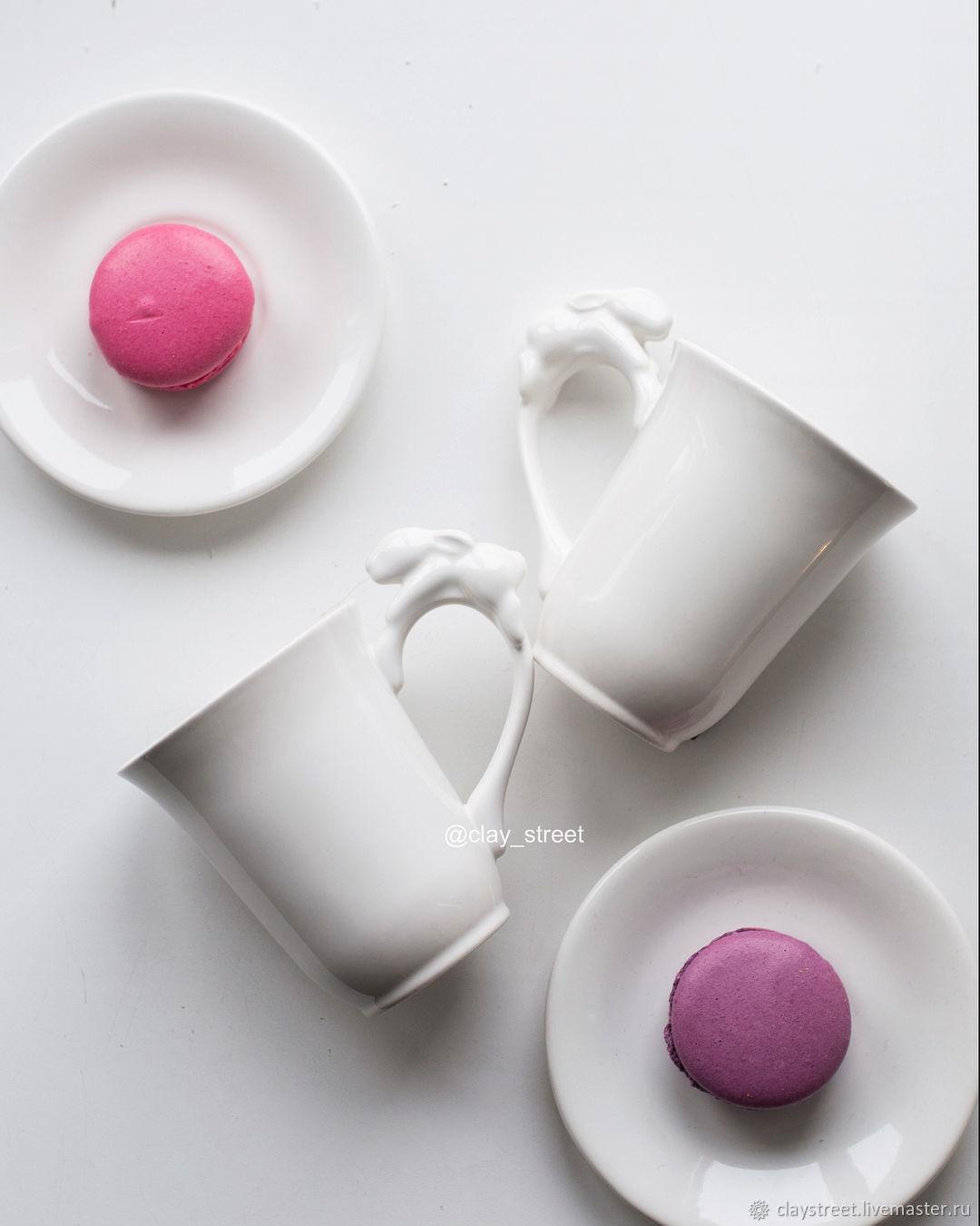 Кружки и чашки ручной работы. Ярмарка Мастеров - ручная работа. Купить Чашка для капучино (чашечка + блюдце. Handmade. Кролик