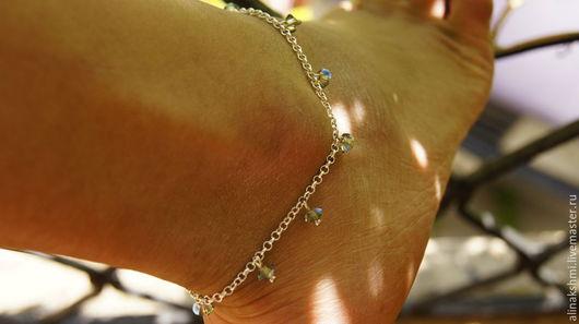Украшения для ножек ручной работы. Ярмарка Мастеров - ручная работа. Купить Браслет на ногу на цепочке из серебра 925 пробы. Handmade.