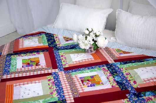"""Текстиль, ковры ручной работы. Ярмарка Мастеров - ручная работа. Купить Одеяло """"Деревенское"""". Handmade. Разноцветный, интерьер, сюрприз"""