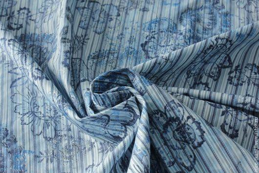 Шитье ручной работы. Ярмарка Мастеров - ручная работа. Купить СКИДКА! 21201 тонкий итальянский фактурный коттон. Handmade. Голубой
