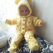 """Комбинезоны ручной работы. Ярмарка Мастеров - ручная работа Вязаный комбинезон """"Baby Joy""""(желтый)+пинетки. Handmade."""
