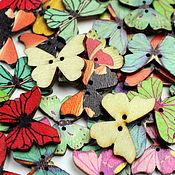 Материалы для творчества ручной работы. Ярмарка Мастеров - ручная работа Пуговицы бабочки  деревянные. Handmade.