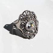 Винтаж ручной работы. Ярмарка Мастеров - ручная работа 20,5  Серебряное  итальянское кольцо  с горным хрусталем. Handmade.