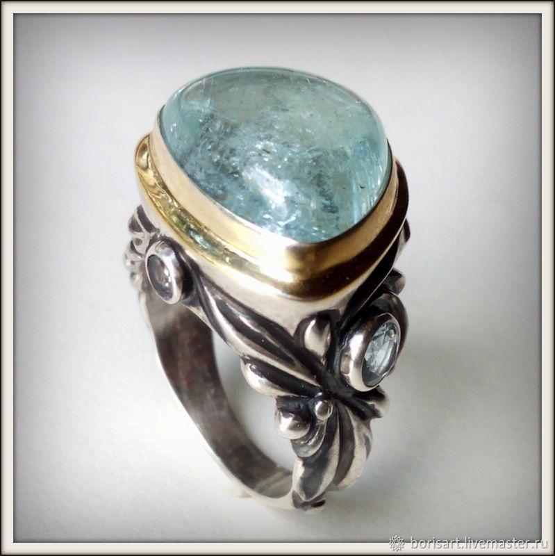 Кольца ручной работы. Ярмарка Мастеров - ручная работа. Купить Аквамарины натуральные кольцо, серебро. Handmade. Голубой, авторское кольцо