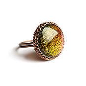 Rings handmade. Livemaster - original item Ring universe Copper ring large round dichroic glass. Handmade.