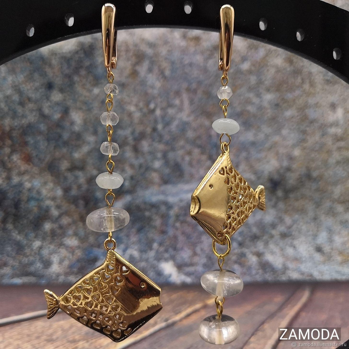 Gold fish earrings with aquamarine and rock crystal, Earrings, Kotelniki,  Фото №1