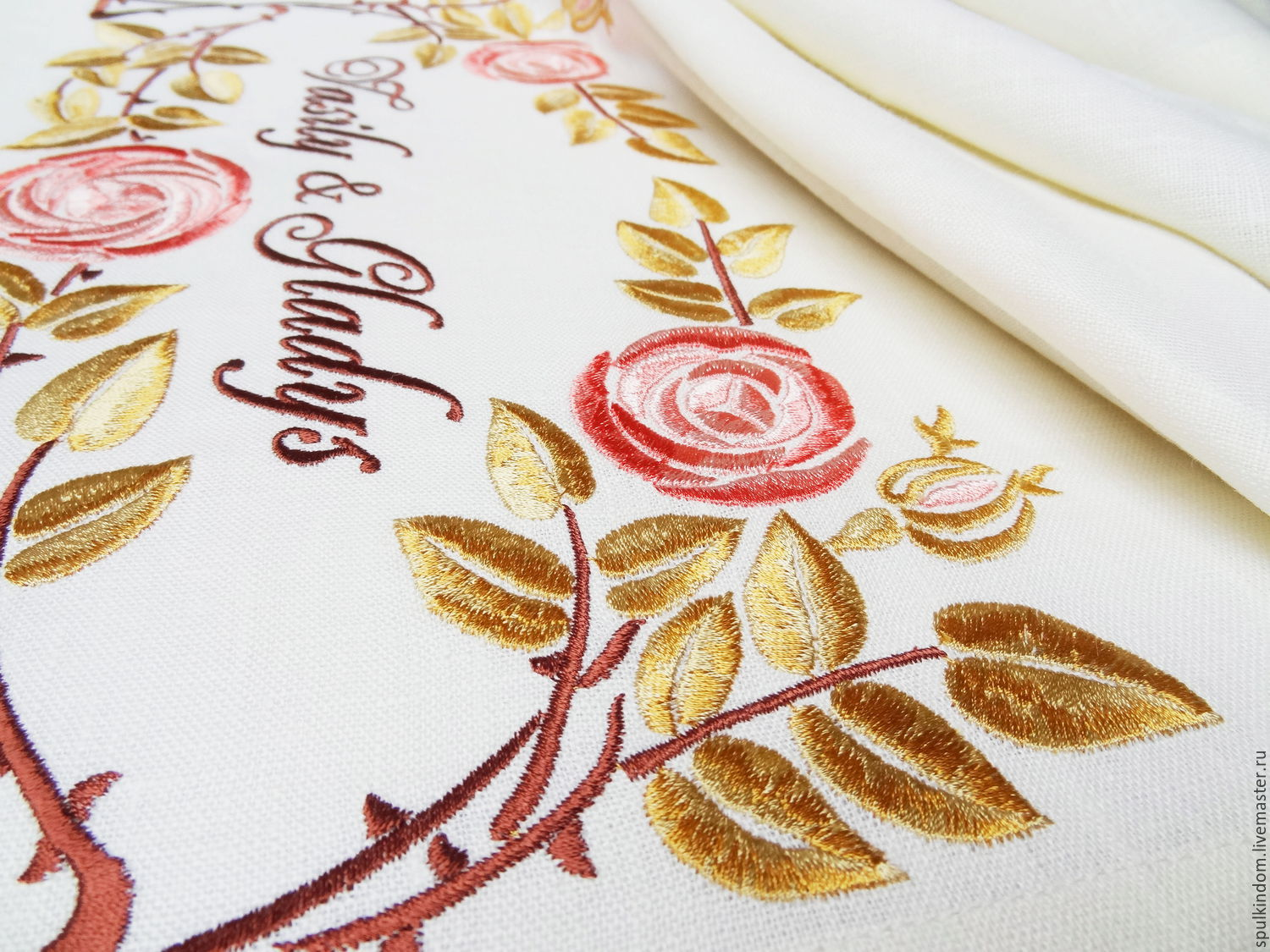 Track with embroidery `Climbing rose`  `Sulkin house` embroidery workshop
