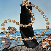 Работы для детей, handmade. Livemaster - original item Beads made of natural mother of pearl Sandy beach. Handmade.