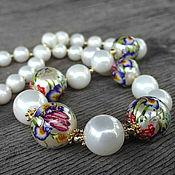 Украшения handmade. Livemaster - original item Beads of Tensha and Majorica in gold plated silver. Handmade.