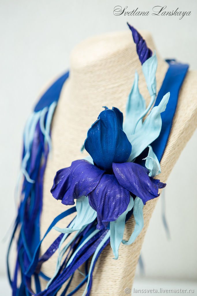 Necklace-brooch made of leather, Blue iris. The author's the decoration of leather, Necklace, Bobruisk,  Фото №1