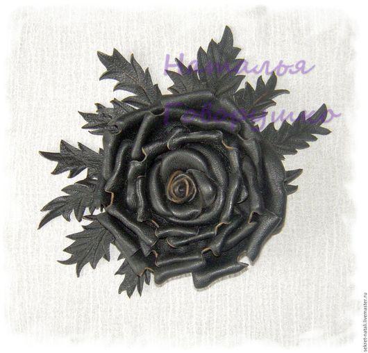 """Броши ручной работы. Ярмарка Мастеров - ручная работа. Купить Брошь из натуральной кожи """"Черная роза"""". Handmade. Черный"""
