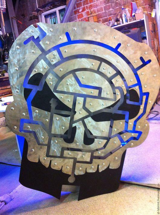 Приколы ручной работы. Ярмарка Мастеров - ручная работа. Купить череп-лабиринт. Handmade. Чёрно-белый, квест, металл, металл