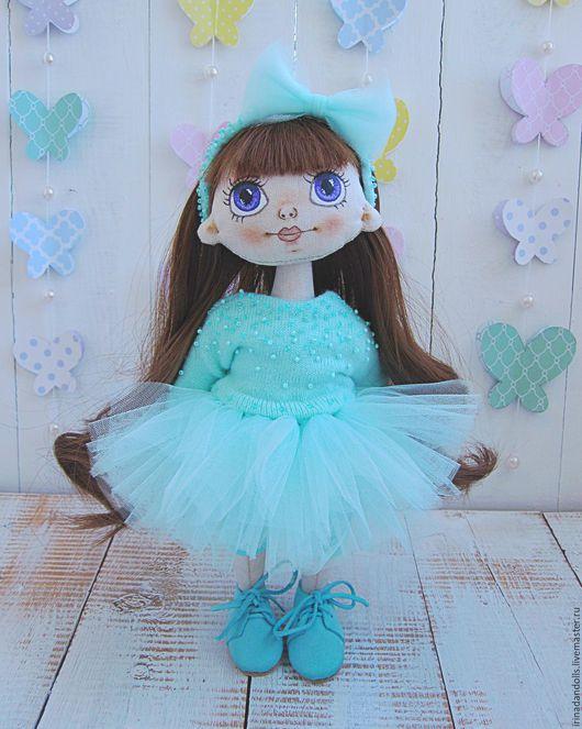 Коллекционные куклы ручной работы. Ярмарка Мастеров - ручная работа. Купить Кукла  Няшка. Handmade. Бирюзовый, кукла, Замша натуральная