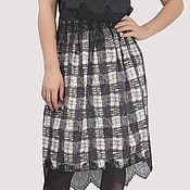 Одежда handmade. Livemaster - original item Checkered cotton skirt in black and white MIDI with lace. Handmade.