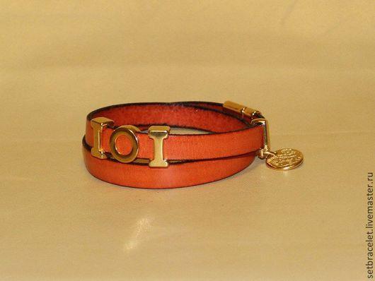 Браслеты ручной работы. Ярмарка Мастеров - ручная работа. Купить Женский кожаный браслет, плоский шнур 10мм, оранжевый. Handmade.