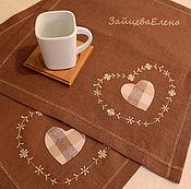 Для дома и интерьера ручной работы. Ярмарка Мастеров - ручная работа Салфетка с вышивкой Сердце моё. Handmade.