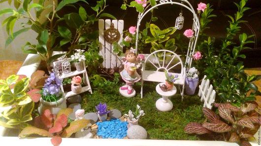 Интерьерные композиции ручной работы. Ярмарка Мастеров - ручная работа. Купить Мини-садик с розами в стиле шебби-шик. Handmade.