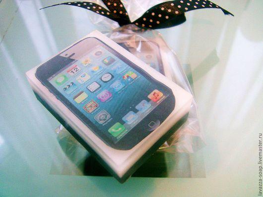 Мыло ручной работы. Ярмарка Мастеров - ручная работа. Купить Мыло iPhone. Handmade. Чёрно-белый, айфон, мыло сувенирное