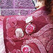 """Аксессуары ручной работы. Ярмарка Мастеров - ручная работа Палантин валяный бордовый  """"Розы"""". Handmade."""