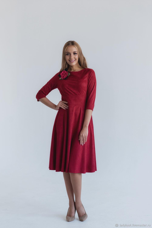 Платье замшевое с широким поясом (бордо) look 1592, Платья, Челябинск, Фото №1