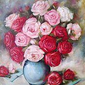 Картины и панно handmade. Livemaster - original item Oil painting Roses in a vase. Handmade.