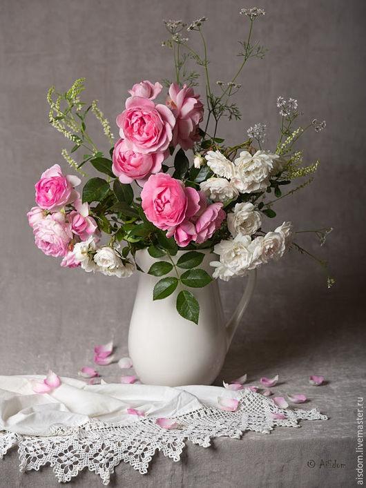 """Фотокартины ручной работы. Ярмарка Мастеров - ручная работа. Купить Фотокартина """"Кантри"""". Handmade. Розовый, розы, кувшин, букет, постер"""